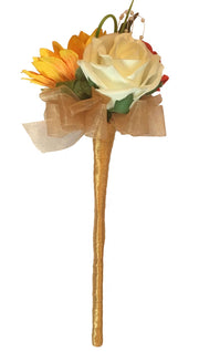 Silk Sunflower, Red & Ivory Rose Flower Girl Wedding Wand