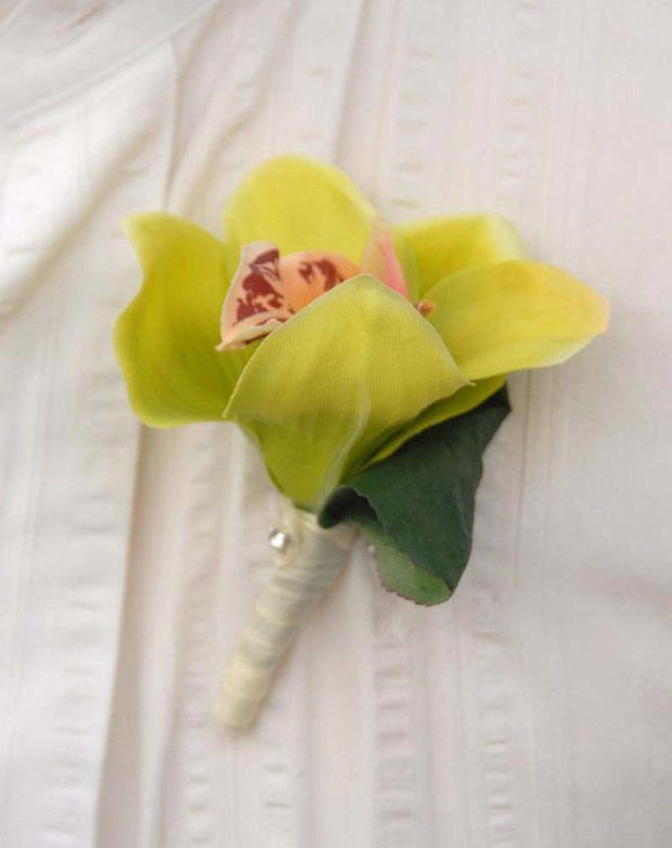 Green Silk Orchid Wedding Buttonhole with Glass Diamante