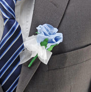 Light Blue Diamante Foam Rose Wedding Guest Buttonhole