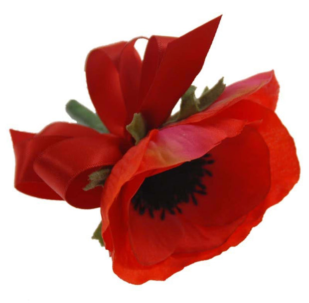 Single Red Silk Anemone Artificial Wedding Buttonhole