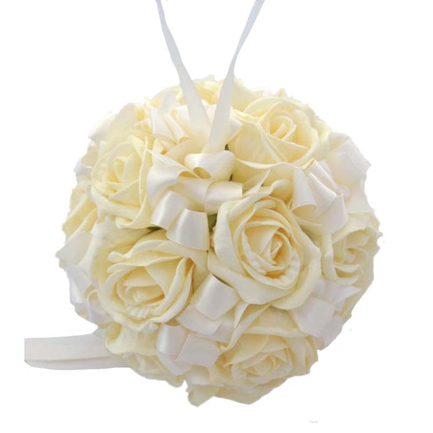 Cream Foam Rose & Satin Ribbon Wedding Flower Pomander Ball