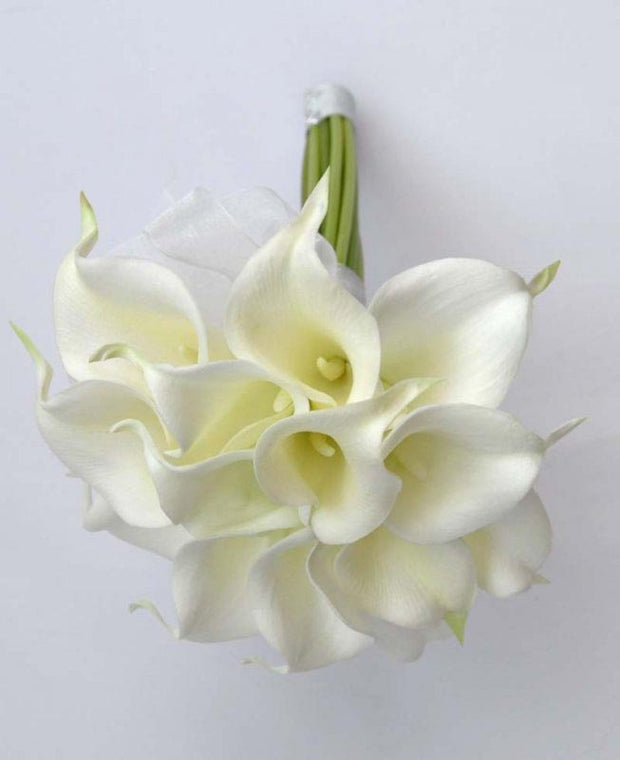 Bridesmaids Soft Touch Ivory Calla Lily Wedding Bouquet