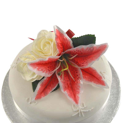 Cerise Silk Stargazer Lily & Ivory Rose Wedding Cake Topper