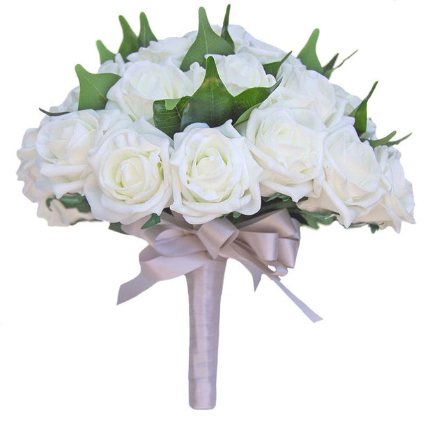 Brides Ivory Foam Rose & Green Ficus Wedding Bouquet