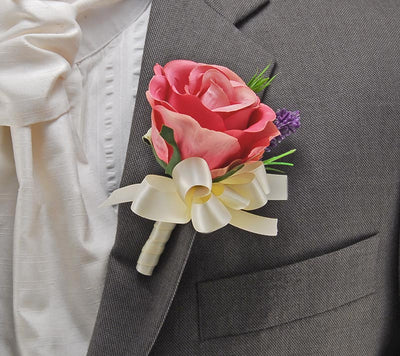 Pink Silk Rose & Lilac Lavender Wedding Guest Buttonhole