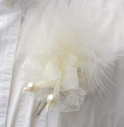 Vintage Inspired Ivory Feather, Bead, & Lace Wedding Buttonhole