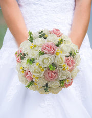 Ivory & Pink Rose Silk Daisy, Pearl Bridal Wedding Bouquet