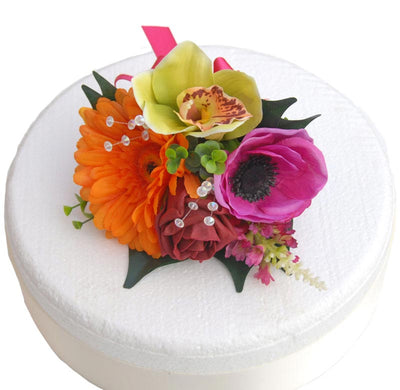 Orange Gerbera, Green Orchid, Pink Anemone & Red Rose Cake Spray
