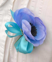 Light Blue Silk Anemone & Turquoise Bow Wedding Guest Buttonhole