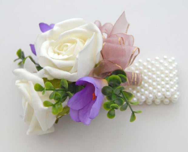 Lilac Silk Freesia & Ivory Rose Pearl Band Wrist Corsage