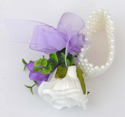 Silk Purple Freesia & White Rose Pearl Band Wrist Corsage
