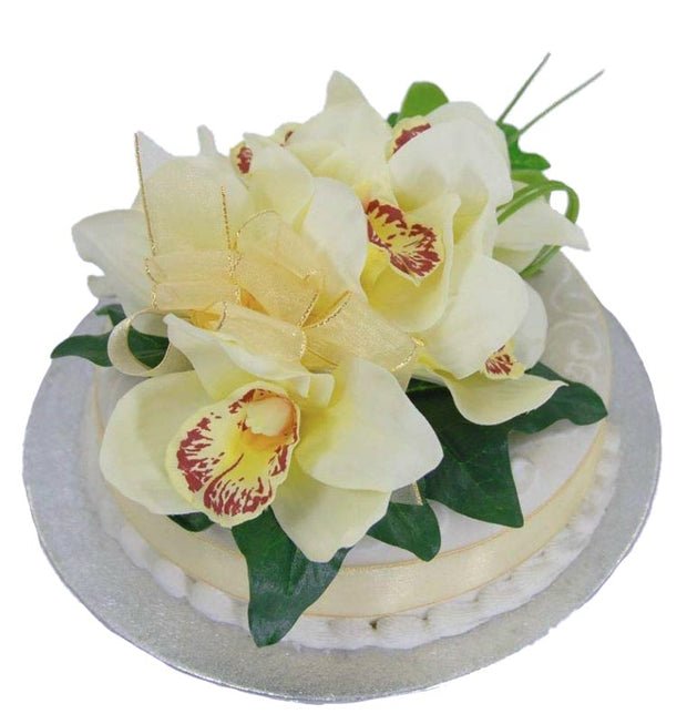 Ivory Silk Cymbidium Orchid & Ivy Wedding Cake Spray
