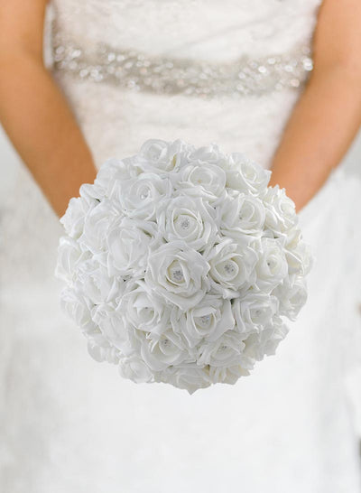 Brides White Diamante Foam Rose Wedding Posy Bouquet