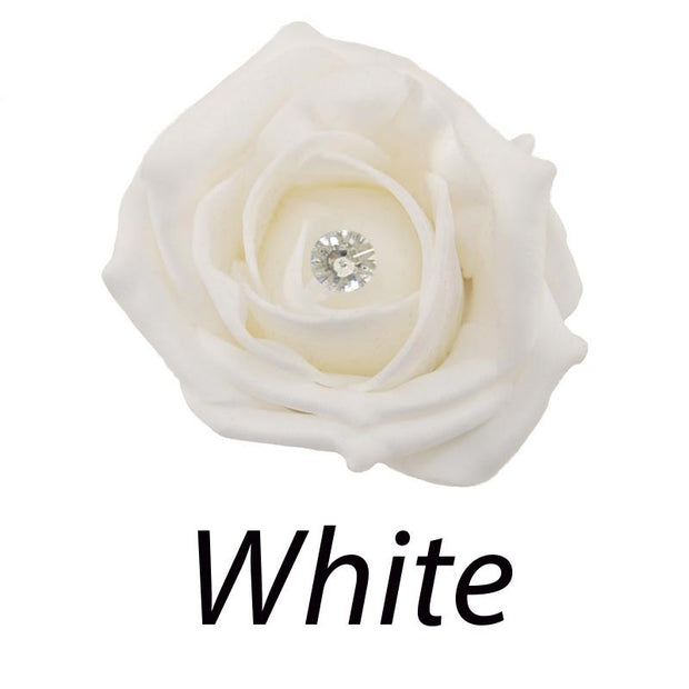 Single Diamante Foam Rose Wedding Flower Sample