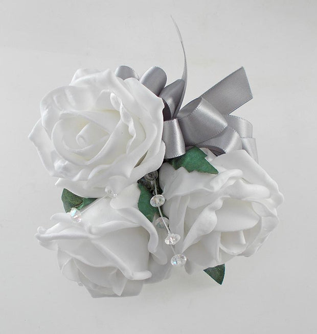 White Foam Rose, Crystal & Silver Bow Wedding Day Pin on Corsage