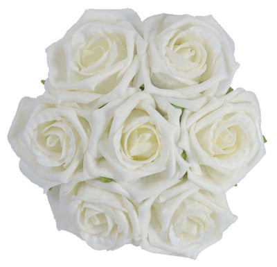 White Foam Rose Flower Girls Wedding Posy