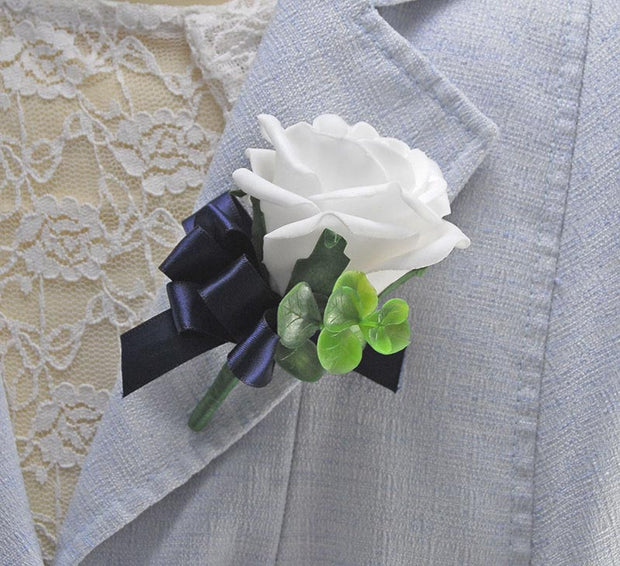 White Rose, Eucalyptus & Navy Blue Ribbon Bow Guest Buttonhole