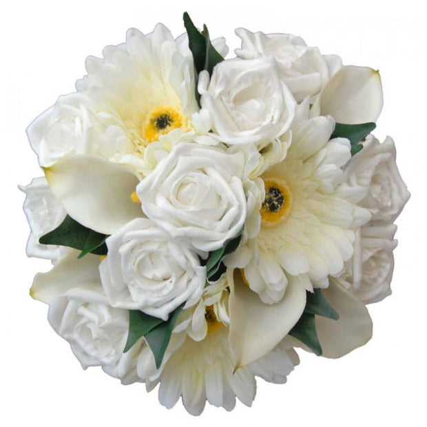 Bridesmaids White Rose, Ivory Gerbera & Calla Lily Wedding Bouquet