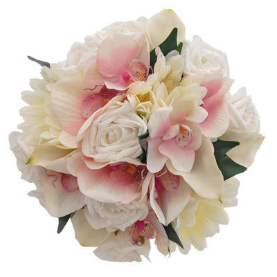 Pink Orchid, White Rose & Ivory Gerbera Bridesmaids Bouquet