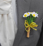 White & Yellow Silk Daisy Grooms Wedding Day Buttonhole