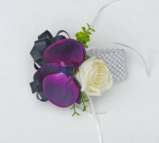 Purple Silk Orchid, Black Bow & Ivory Rose Wrist Corsage