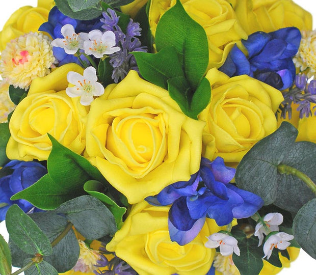 Bridesmaids Yellow Rose, Delphinium & Waxflower Wedding Bouquet