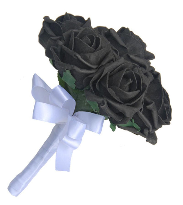 Young Bridesmaids Black Foam Rose Flower Girl Wedding Posy