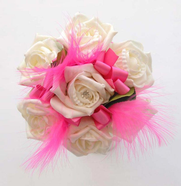 Ivory Diamante Rose & Cerise Feather Flower Girls Wedding Posy
