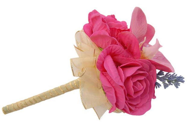 Pink Orchid, Foam Rose & Lavender Flower Girl Wedding Wand