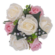 Ivory & Pink Artificial Rose & Crystal Flower Girl Wedding Posy