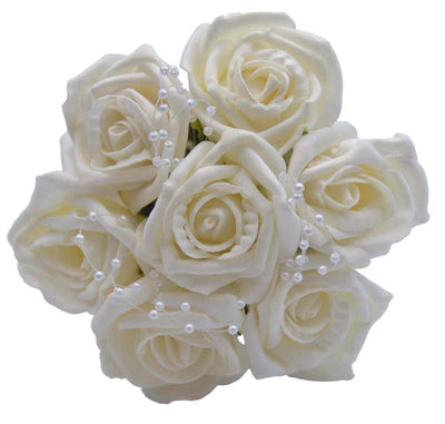 Ivory Foam Rose & Pearl Loops Flower Girl Wedding Posy