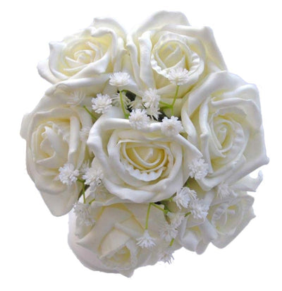 Ivory Foam Rose & Artificial Gypsophila Flower Girl Wedding Posy