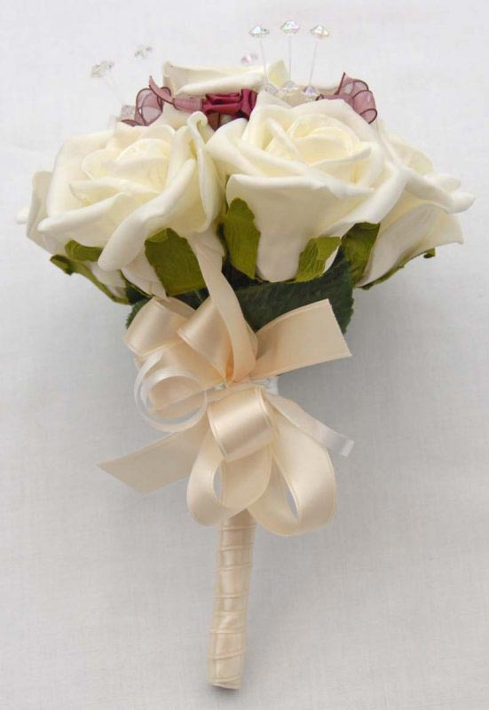 Ivory Rose, Crystal & Burgundy Satin Rose Flower Girl Wedding Posy