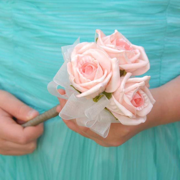 Triple Light Pink Foam Rose Young Bridesmaids Wedding Wand