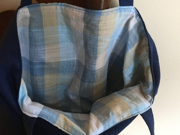 Tote Bag: Navy Blue with Pale Blue Plaid lining