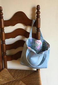 Tote Bag: Pale blue linen with blue, green, pink silky floral lining