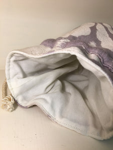 Gift Bag / Drawstring Pouch: Lavender and cream  with cream cotton lining