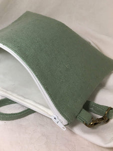Pale green linen Wristlet Zipper Pouch with cream colored cotton lining