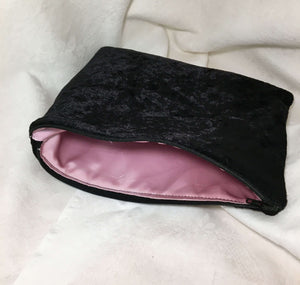 Velvety black Zipper Pouch with pink satin lining