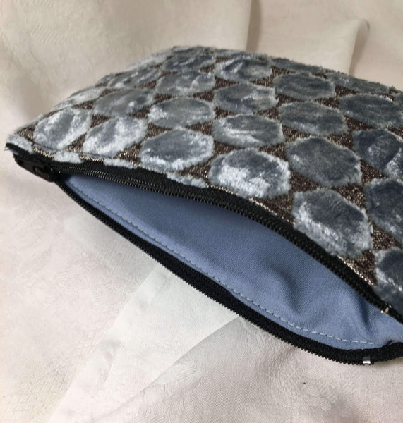 Plush blue and silver Zipper Pouch with soft blue lining