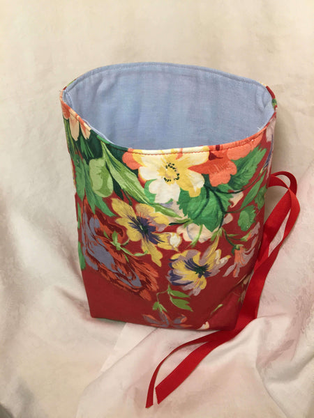 Gift Bag: Red floral with blue cotton lining
