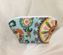 Load image into Gallery viewer, Zipper Pouch: Blue, pink, yellow floral with silky blue lining