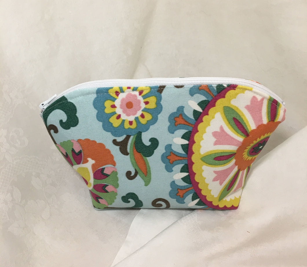 Zipper Pouch: Blue, pink, yellow floral with silky blue lining