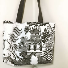 Load image into Gallery viewer, Tote Bag: Black print on white silk with silky black lining