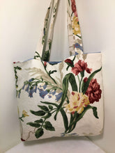Load image into Gallery viewer, Tote Bag: red and yellow floral on cream with pale blue lining