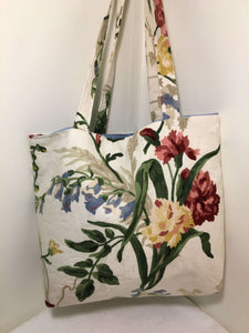 Tote Bag: red and yellow floral on cream with pale blue lining