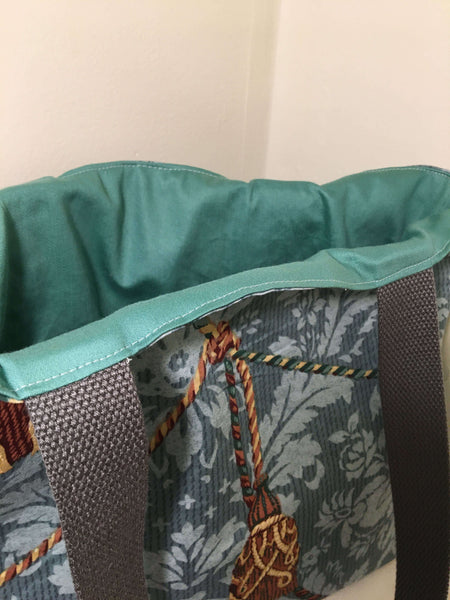 Tote Bag: shades of blue with soft green lining