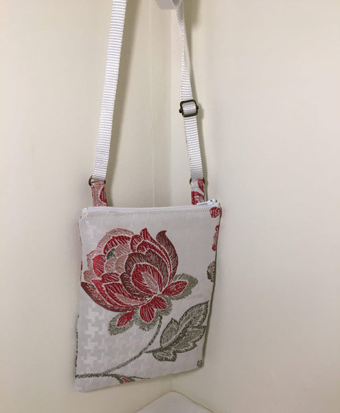 Cross-body bag / Zip Pocket: pink peonies on cream background with pink satin lining