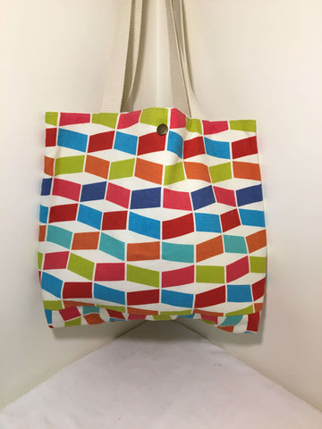 Tote / Beach Bag: geometric multi-colored with cream lining