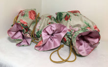 Load image into Gallery viewer, Gift Bag Set (3): red & pink floral on beige with pink satin lining
